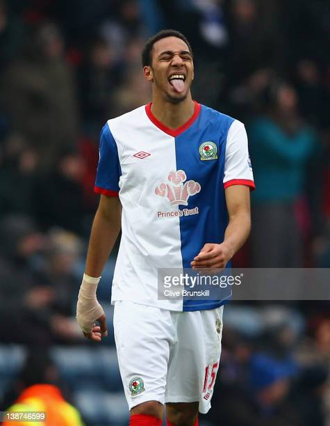 Steve Nzonzi of Blackburn Rovers celebrates after scoring the second goal during the Barclays Premier League match between Blackburn Rovers and...