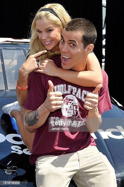 Steve O and playmate Jessa Hinton arrive at the Celebrity GoKart Tournament benefiting the American Diabetes Association at K1 Speed Indoor GoKart...