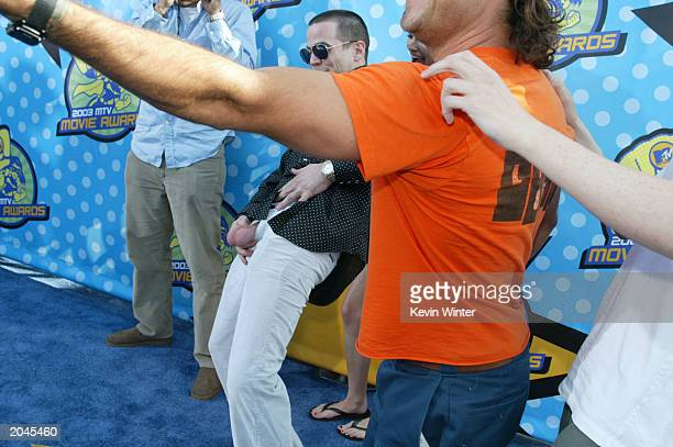 Steve O holds out his testicles while attending The 2003 MTV Movie Awards held at the Shrine Auditorium on May 31 2003 in Los Angeles California
