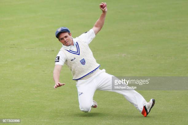 Steve O'Keefe catches the ball during day three of the Sheffield Shield match between Victoria and New South Wales at Junction Oval on March 5 2018...