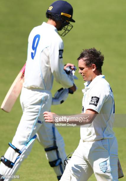 Steve O'Keefe of New South Wales looks dejected after he was dismissed during day five of the Sheffield Shield match between Victoria and New South...