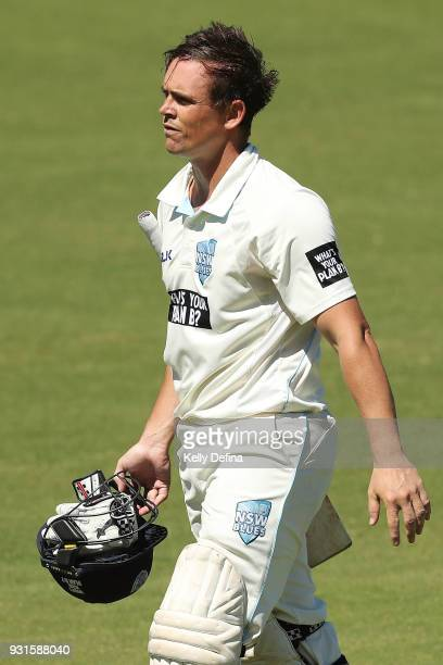 Steve O'Keefe of the NSW Blues leaves the field after he was dismissed during day four of the Sheffield Shield match between Victoria and New South...