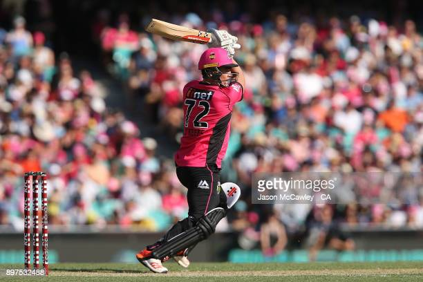 Steve O'Keefe of the Sixers bats during the Big Bash League match between the Sydney Sixers and the Perth Scorcher at Sydney Cricket Ground on...