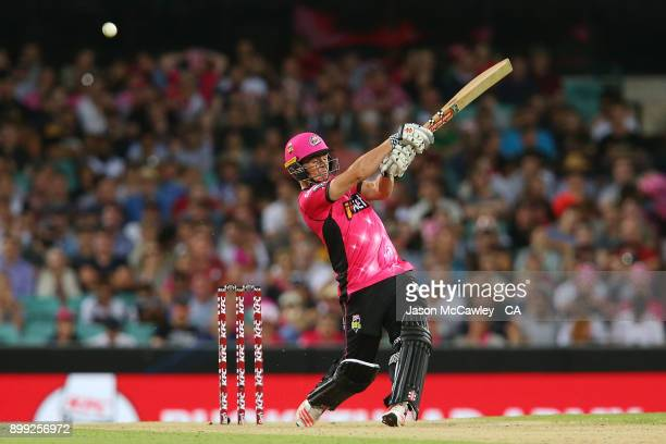Steve O'Keefe of the Sixers bats during the Big Bash League match between the Sydney Sixers and the Adelaide Strikers at Sydney Cricket Ground on...