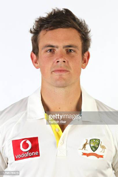 Steve O'Keefe poses for a portrait during the official Australian Test cricket team headshots session on July 24 2011 in Coolum Beach Australia