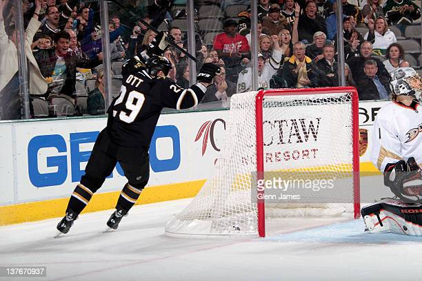 Steve Ott and the Dallas Stars celebrates a goal against Jonas Hiller of the Anaheim Ducks at the American Airlines Center on January 24 2012 in...