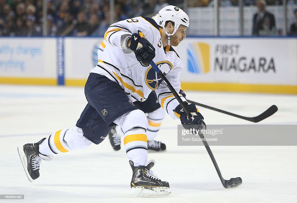 Steve Ott #9 of the Buffalo Sabres shoots in NHL action against the Toronto Maple Leafs at First Niagara Center on January 29, 2013 in Buffalo, New York.