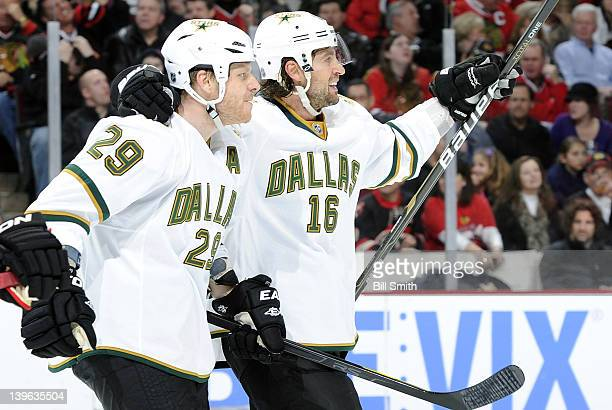 Steve Ott of the Dallas Stars celebrates with teammate Adam Burish after scoring and tying the game in the third against the Chicago Blackhawks...
