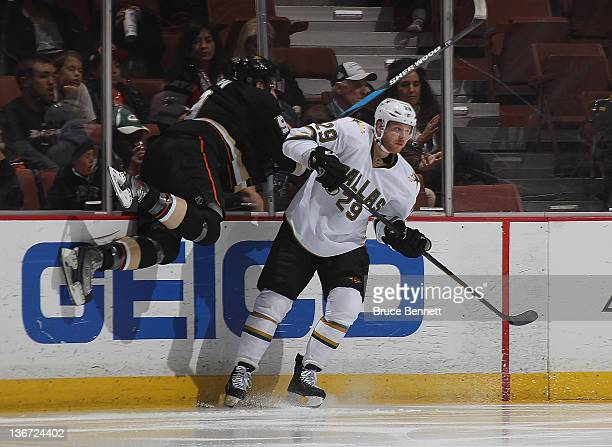 Steve Ott of the Dallas Stars hits Bobby Ryan of the Anaheim Ducks at the Honda Center on January 10 2012 in Anaheim California The Ducks defeated...