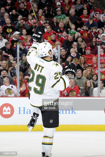 Steve Ott of the Dallas Stars reacts after scoring a goal during the NHL game against the Chicago Blackhawks on February 23, 2012 at the United...