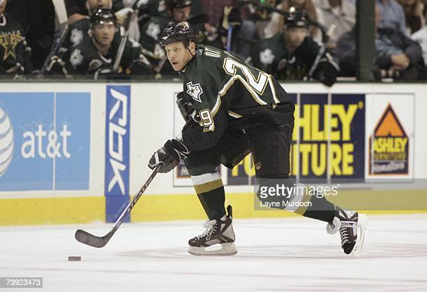 Steve Ott of the Dallas Stars skates with the puck against the Vancouver Canucks during game three of the 2007 NHL Western Conference Quarterfinals...