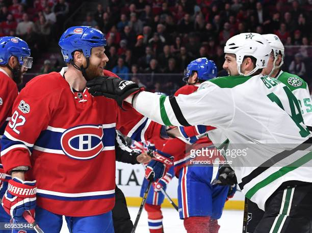 Steve Ott of the Montreal Canadiens and Jamie Benn of the Dallas Stars exchange words in the NHL game at the Bell Centre on March 28 2017 in Montreal...
