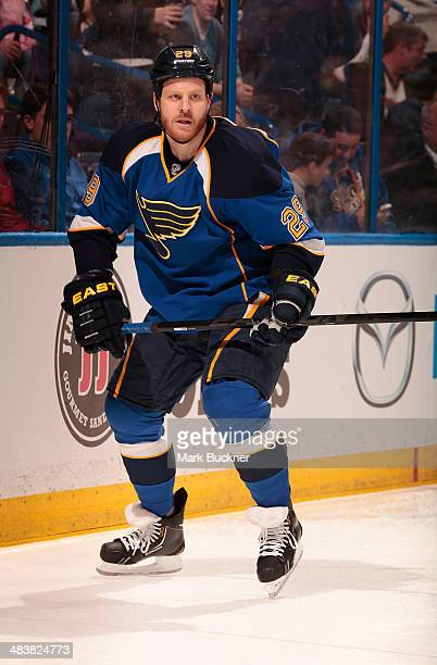 Steve Ott of the St Louis Blues skates against the Buffalo Sabres during an NHL game on April 3 2014 at Scottrade Center in St Louis Missouri