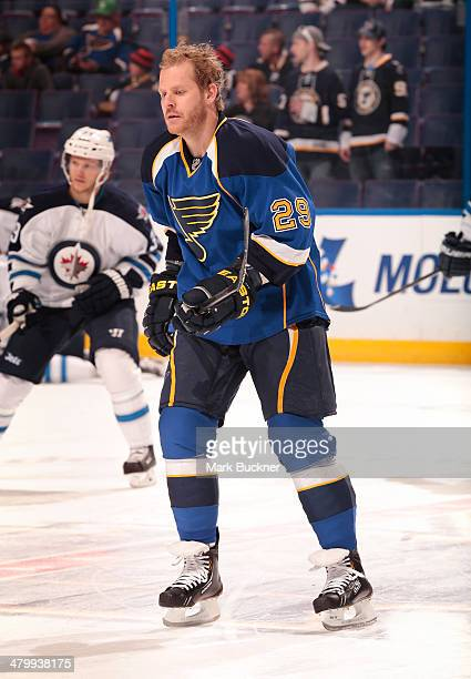 Steve Ott of the St Louis Blues skates before an NHL game against the Winnipeg Jets on March 17 2014 at Scottrade Center in St Louis Missouri
