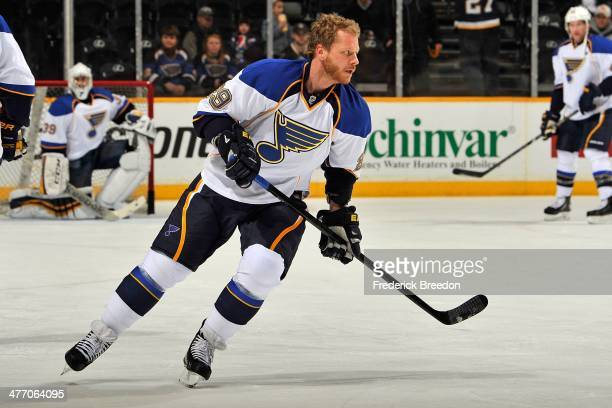 Steve Ott of the St Louis Blues skates during warm ups prior to a game against the Nashville Predators at Bridgestone Arena on March 6 2014 in...