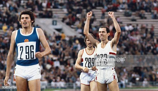 Steve Ovett of Great Britain celebrates after winning the men's 800 metres final during the 1980 Summer Olympic Games on July 26 1980 in Moscow...