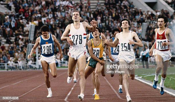 Steve Ovett of Great Britain wins the men's 800 metres final from teammate and silver medallist Sebastian Coe and bronze medallist Nikolai Kirov of...
