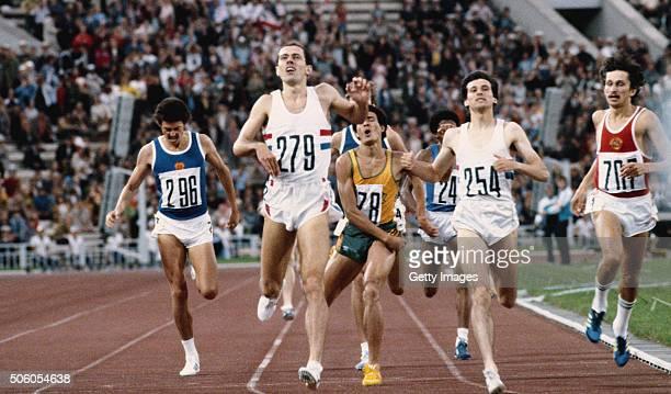 Steve Ovett of Great Britain wins the men's 800 metres final from teammate and silver medallist Sebastian Coe and bronze medallist Nikolai Kirov of...