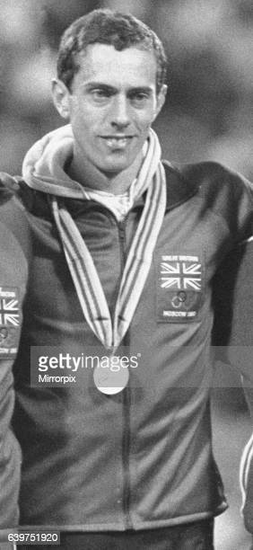 Steve Ovett winner of the 800 metre at the 1980 Moscow Olympic Games during the medal ceremony at the Olympic stadium. 26th July 1980.