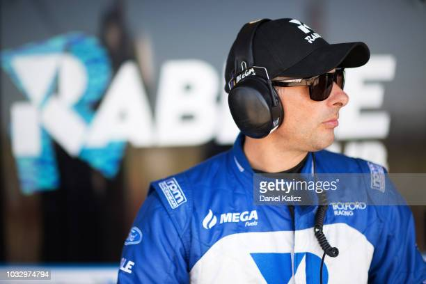 Steve Owen driver of the Tickford Racing Ford Falcon FGX looks on during practice for the Supercars Sandown 500 at Sandown International Motor...