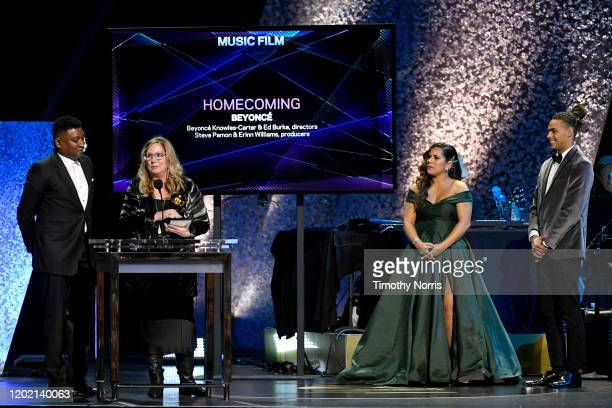 Steve Pamon and Erinn Williams accept the award for Best Music Film for Homecoming during the 62nd Annual GRAMMY Awards Premiere Ceremony at...