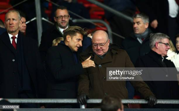 Steve Parish Crystal Palace chairman speaks to Les Reed Southampton Director of football prior to the Premier League match between Southampton and...
