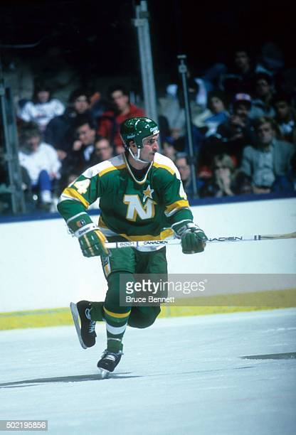 Steve Payne of the Minnesota North Stars skates on the ice during an NHL game against the New York Islanders on January 7, 1986 at the Nassau...