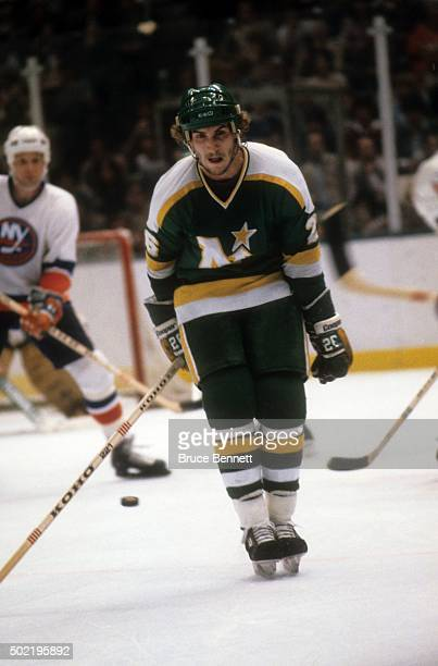 Steve Payne of the Minnesota North Stars tries to block a shot during the 1981 Stanley Cup Finals against the New York Islanders in May, 1981 at the...