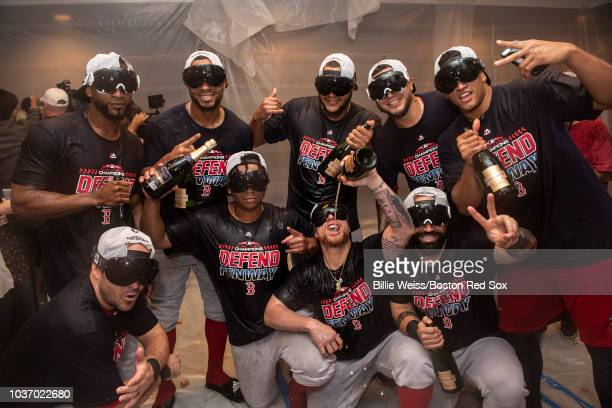 Steve Pearce Eduardo Nunez Xander Bogaerts Rafael Devers Christian Vazquez Eduardo Rodriguez Hector Velazquez Sandy Leon and William Cuevas of the...