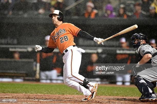 Steve Pearce of the Baltimore Orioles doubles in the first inning to score Chris Davis during game two of a doubleheader against the New York Yankees...