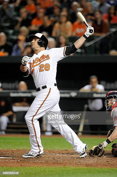 Steve Pearce of the Baltimore Orioles hits a tworun home run in the third inning against the Boston Red Sox at Oriole Park at Camden Yards on...