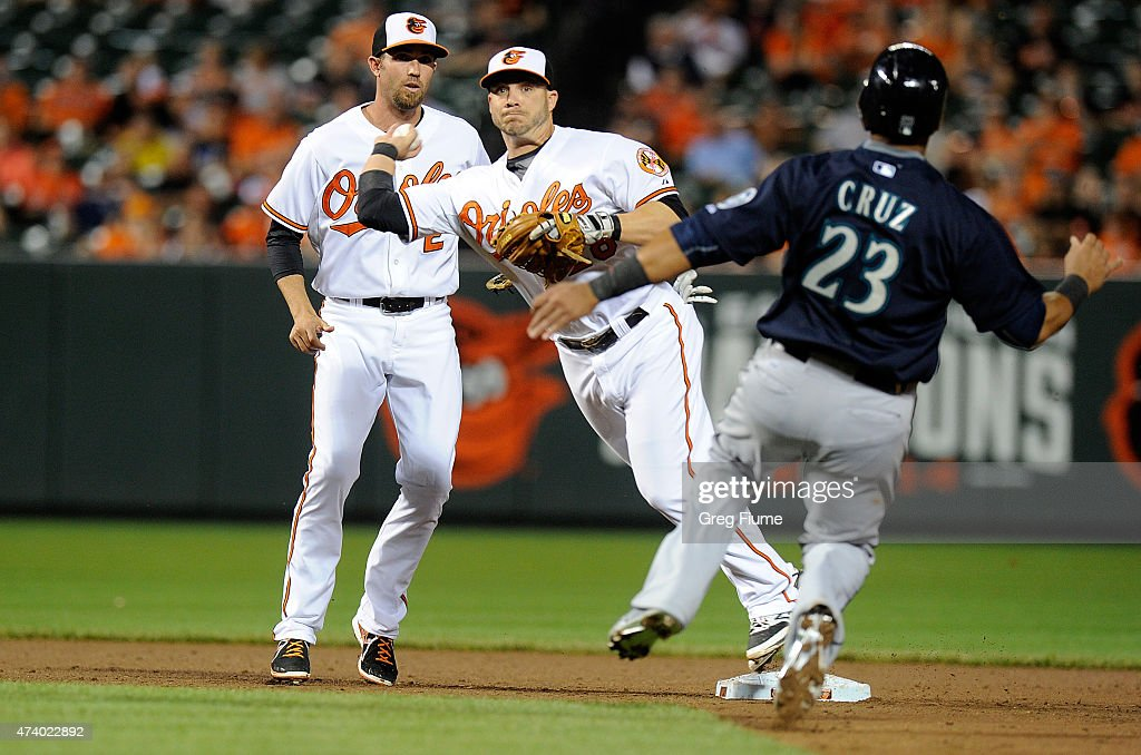 Steve Pearce #28 of the Baltimore Orioles throws to first base after forcing out Nelson Cruz #23 of the Seattle Mariners at second base in the eighth inning at Oriole Park at Camden Yards on May 19, 2015 in Baltimore, Maryland.