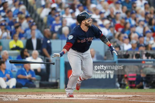 Steve Pearce of the Boston Red Sox hits a tworun home run during the first inning against the Los Angeles Dodgers in Game Five of the 2018 World...