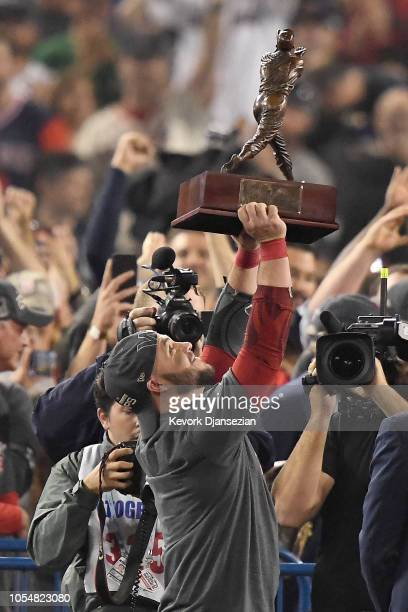 Steve Pearce of the Boston Red Sox is awarded the MVP after defeating the Los Angeles Dodgers 51 in Game Five of the 2018 World Series at Dodger...