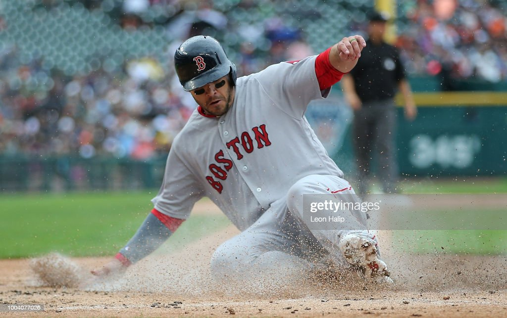 Steve Pearce #25 of the Boston Red Sox scores during the second inning of the game against the Detroit Tigers at Comerica Park on July 22, 2018 in Detroit, Michigan.