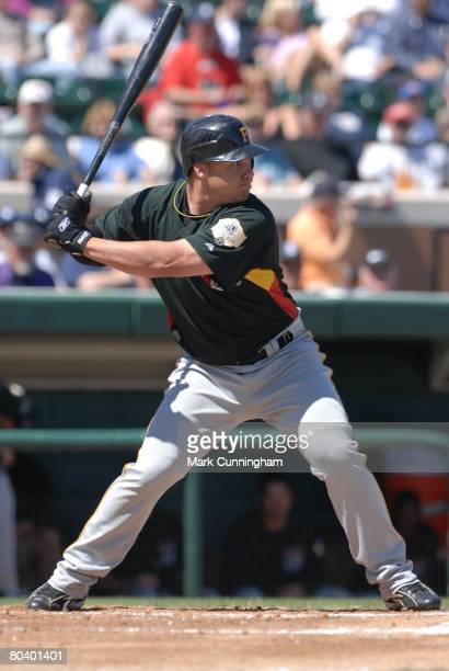 Steve Pearce of the Pittsburgh Pirates bats during the spring training game against the Detroit Tigers at Joker Marchant Stadium in Lakeland Florida...