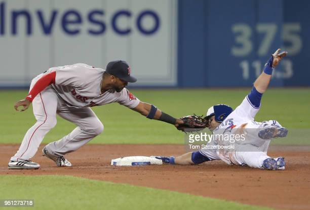 Steve Pearce of the Toronto Blue Jays slides safely into second base with a double in the first inning during MLB game action as Eduardo Nunez of the...