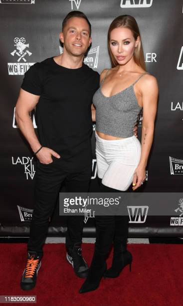 Steve Pearson and adult film actress Nicole Aniston attend the world premiere of the film LadyKillerTV at the Brenden Theatres inside Palms Casino...