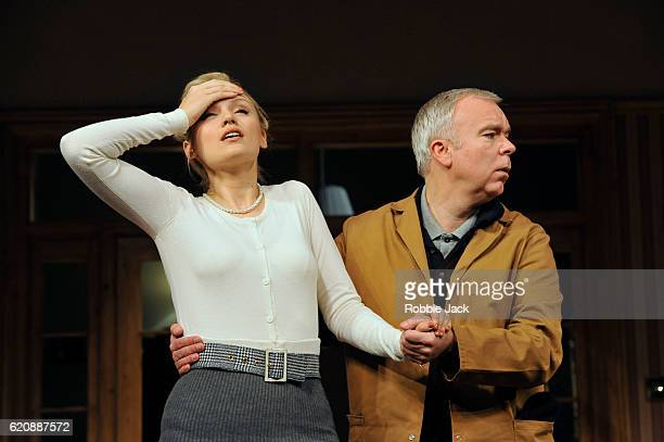 Steve Pemberton as Brian and Emily Berrington as Lisa in Terry Johnson's Dead Funny directed by Terry Johnson at the Vaudeville Theatre on November 1...