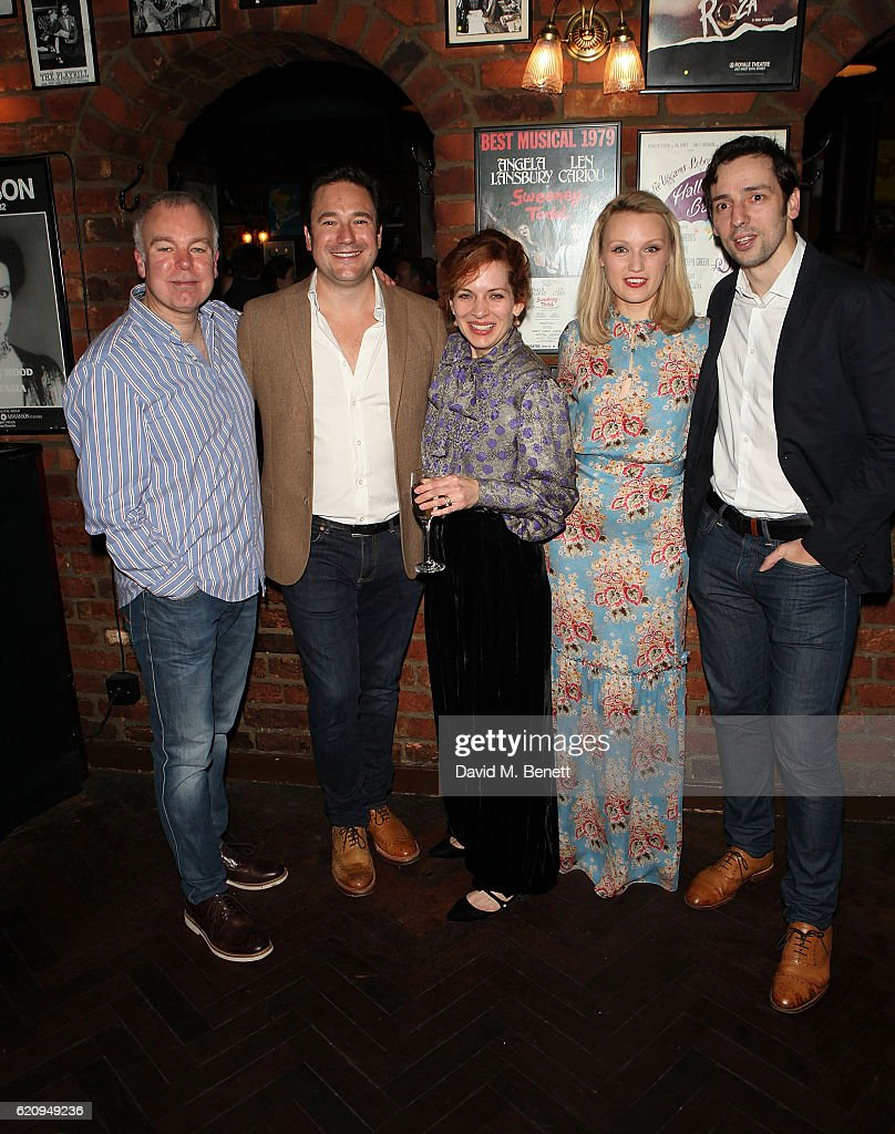Steve Pemberton, Rufus Jones, Katherine Parkinson, Emily Berrington and Ralf Little attend the press night after party for 'Dead Funny' at Joe Allen Restaurant on November 3, 2016 in London, England.