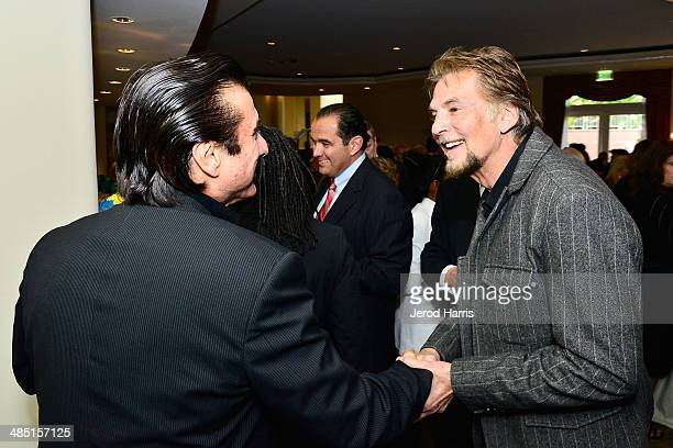 Steve Perry and Kenny Loggins attend the Beverly Hills Bar Association's Entertainment Lawyer of the Year Dinner at Beverly Hills Hotel on April 16,...