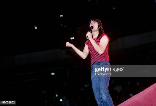 Steve Perry of Journey performs on stage at Meadowlands on May 7, 1982 in East Rutherford, New Jersey.