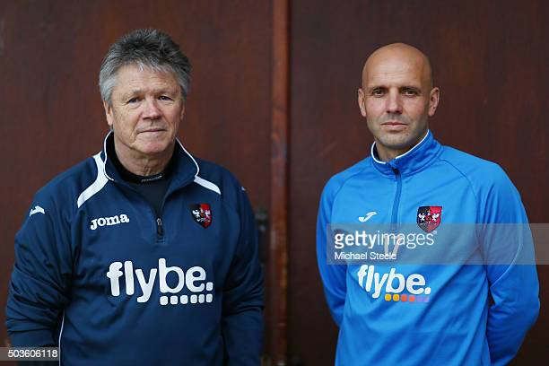 Steve Perryman the Exeter City Director of Football and Paul Tisdale the Manager of Exeter City pose during the Exeter City FA Cup Media Day at the...