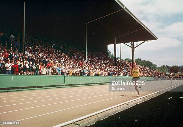 Steve Prefontaine 1st in the 5000meter Shown in closeup views at the Olympic tryouts