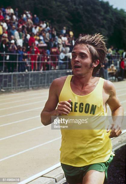 Steve Prefontaine, 1st in the 5000-meter. Shown in close-up views at the Olympic tryouts.
