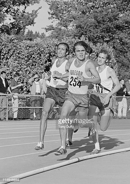 Steve Prefontaine leads Frank Shorter and Steve Stageberg during the 3 mile race at the AAU Championships on 25th June 1971 at Hayward Field Eugene...
