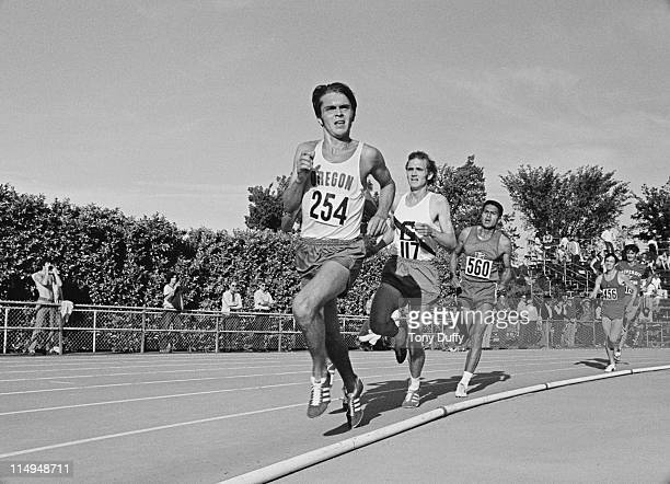 Steve Prefontaine leads the field during the 3 mile race at the AAU Championships on 25th June 1971 at Hayward Field Eugene Oregon United States