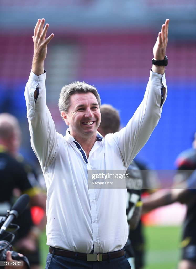 Steve Price Coach of Warrington Wolves coach celebrates after the Ladbrokes Challenge Cup Semi Final match between Warrington Wolves and Leeds Rhinos at Macron Stadium on August 5, 2018 in Bolton, England.