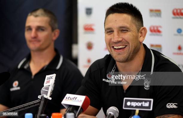 Steve Price of the Warriors speaks at an NRL press conference with head coach Ivan Cleary at Mount Smart Stadium on April 6 2010 in Auckland New...
