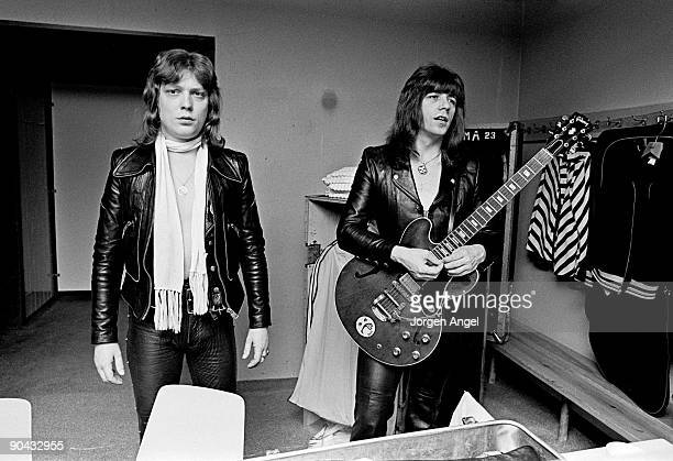 Steve Priest and Andy Scott of The Sweet pose backstage in their dressing room in April 1975 in Copenhagen Denmark
